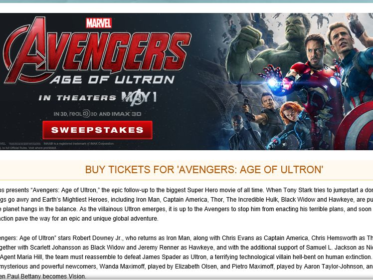 """The MovieTickets.com """"Avengers: Age of Ultron"""" Sweepstakes"""