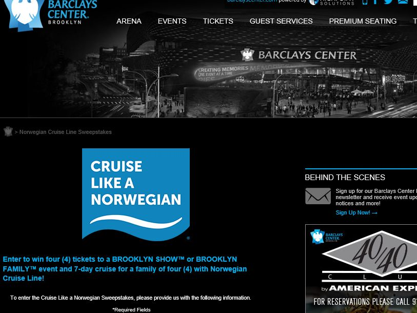 Norwegian – Barclays Center Sweepstakes