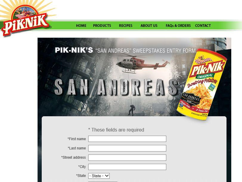"The Pik-Nik's ""San Andreas"" Sweepstakes"