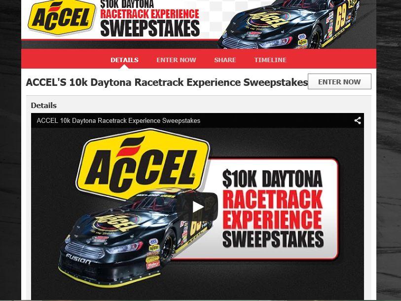 Accel 10k Daytona Racetrack Experience Sweepstakes