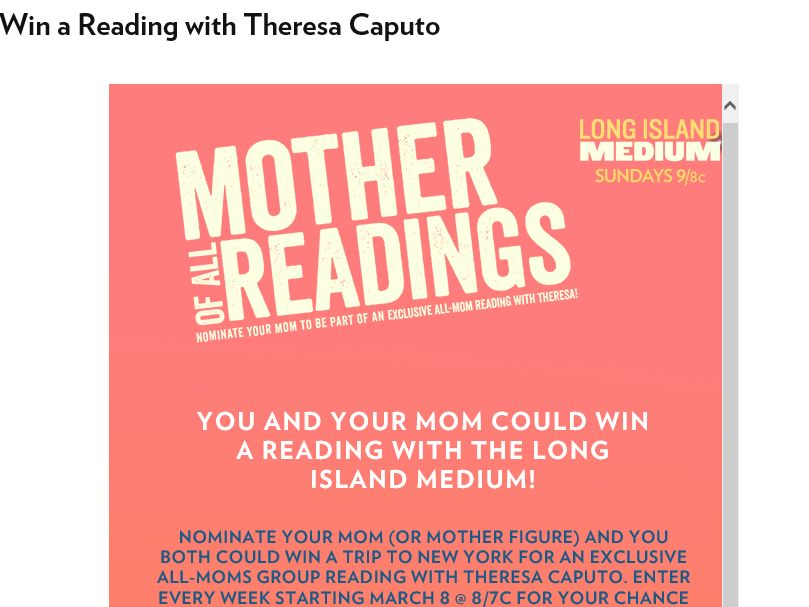 "The Long Island Medium ""Mother of All Readings"" Sweepstakes"