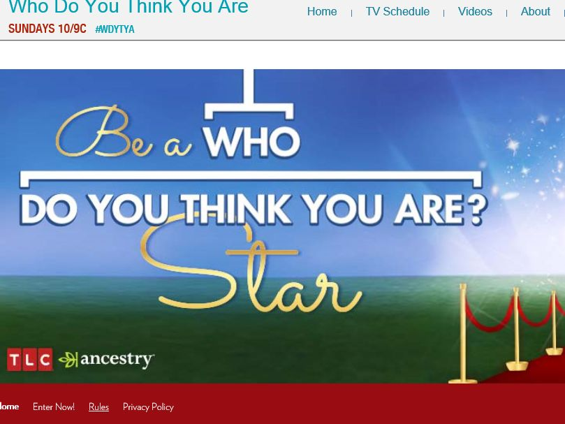 """Ancestry.com """"Be a Who Do You Think You Are Star"""" Sweepstakes"""