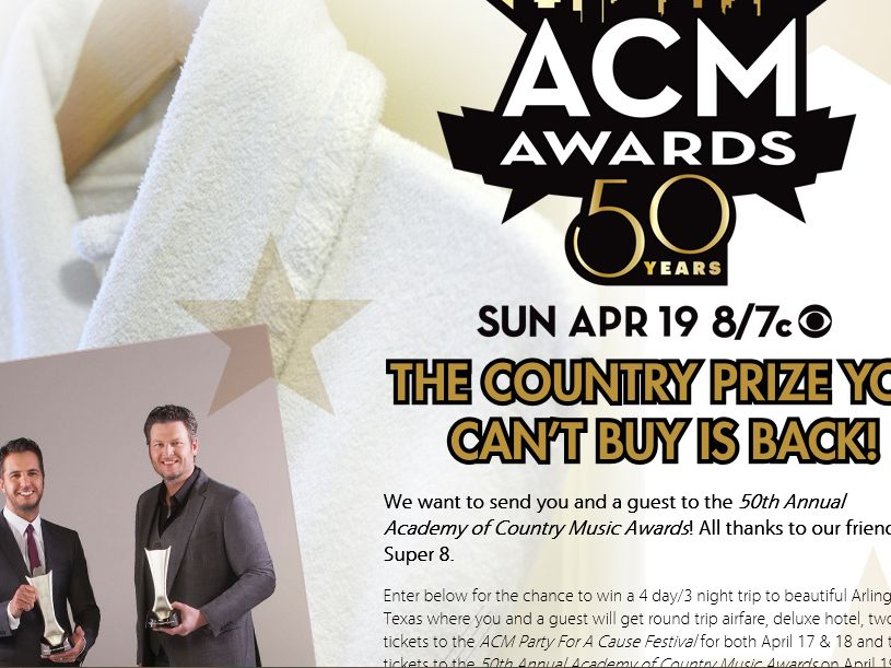 The 50th Annual ACM Awards Country Prize You Can't Buy Sweepstakes