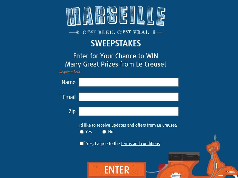 The 2015 Le Creuset Marseille Sweepstakes