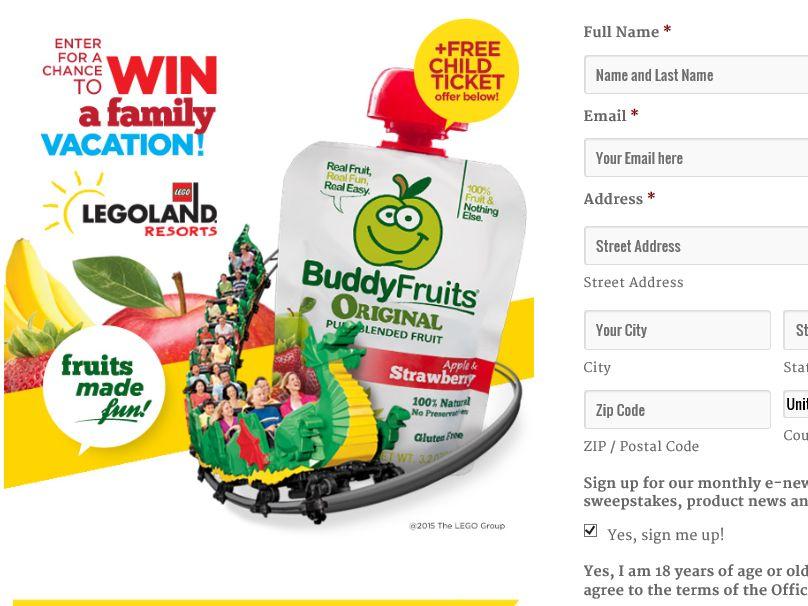 The Buddy Fruits LEGOLAND Sweepstakes