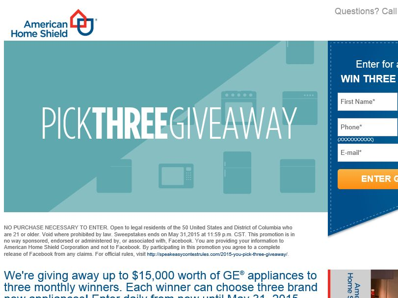 The American Home Shield YOU PICK THREE Sweepstakes