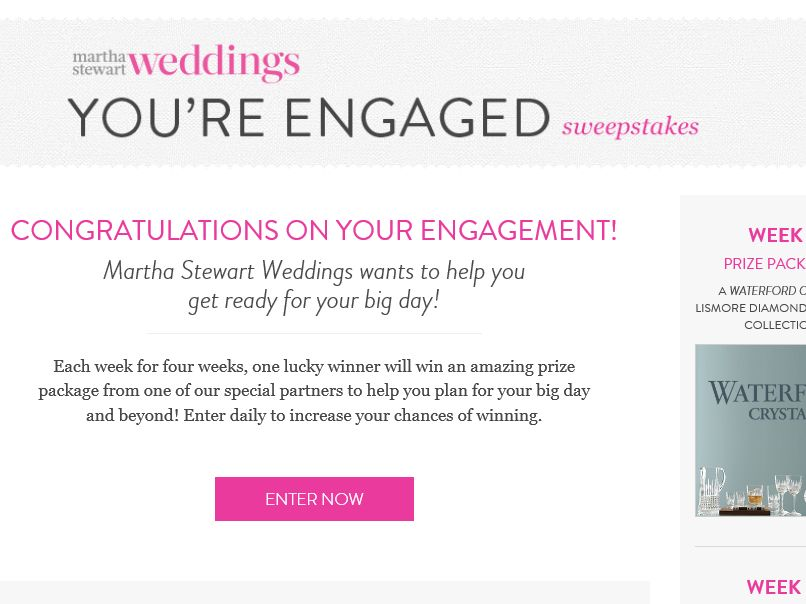 The Martha Stewart Weddings You're Engaged Sweepstakes
