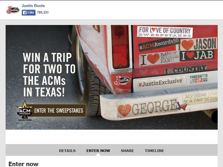 Justin Brands, Inc. For Love of Country Sweepstakes
