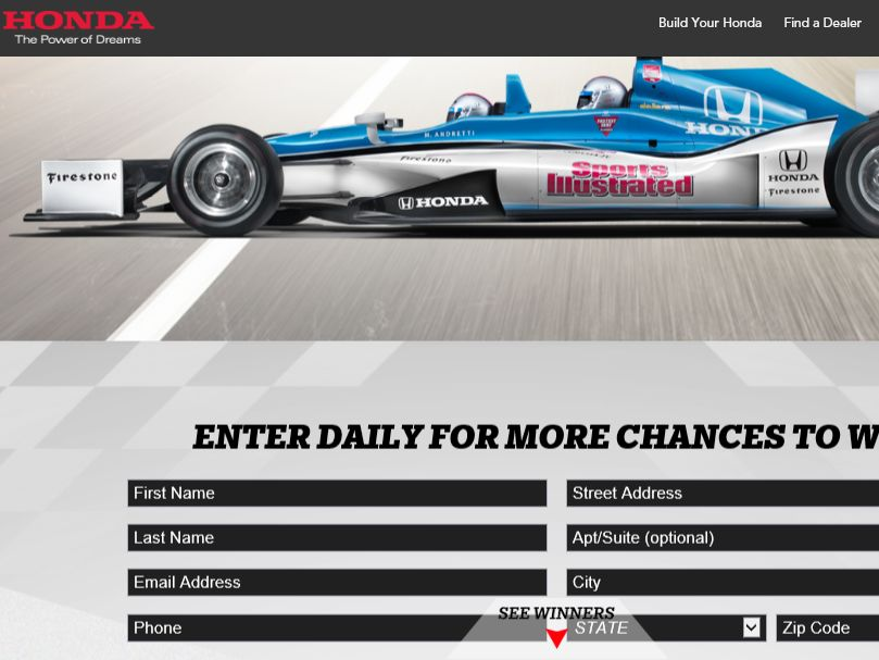 The Honda Fastest Seat in Sports Sweepstakes