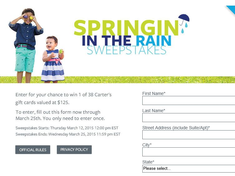 Carter's Springin' in the Rain Sweepstakes