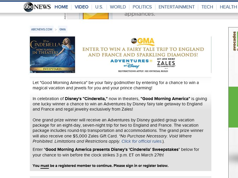 "Good Morning America Presents the Disney's ""Cinderella"" Sweepstakes"