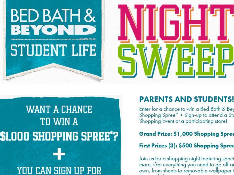 Bed Bath & Beyond Student Life 2015 Sweepstakes