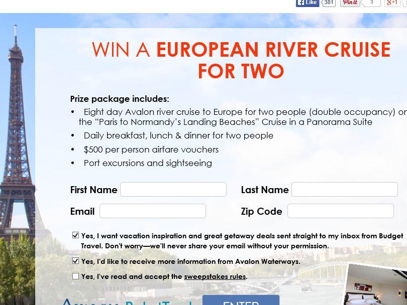 Budget Travel European River Cruise Sweepstakes