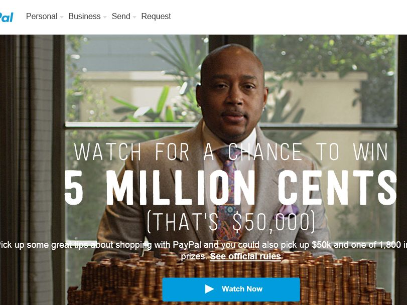 PayPal Five Million Cents Instant Win Game
