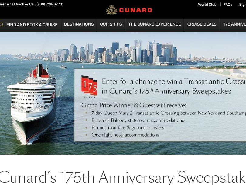 Cunard's 175TH Anniversary Sweepstakes
