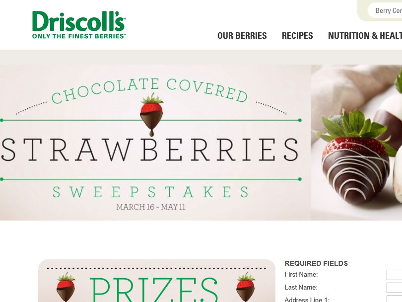 """Driscoll's """"Chocolate Covered Strawberries"""" Sweepstakes"""