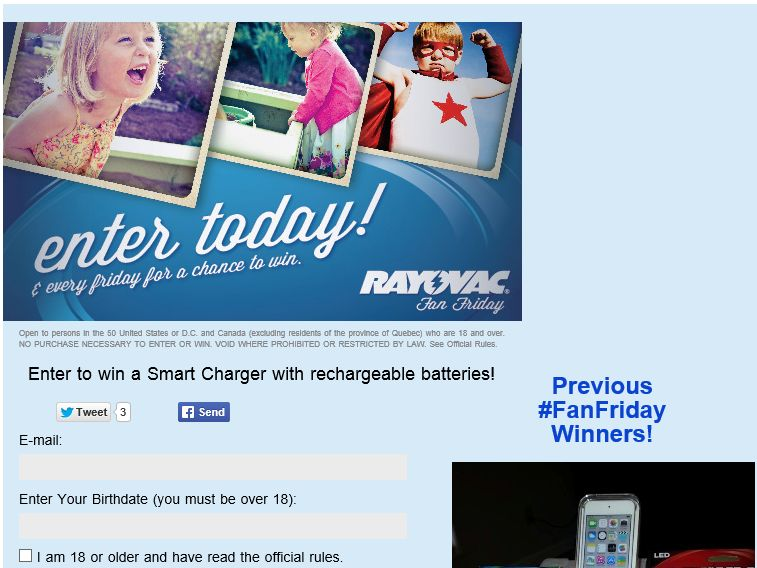 Rayovac Fan Friday Sweepstakes