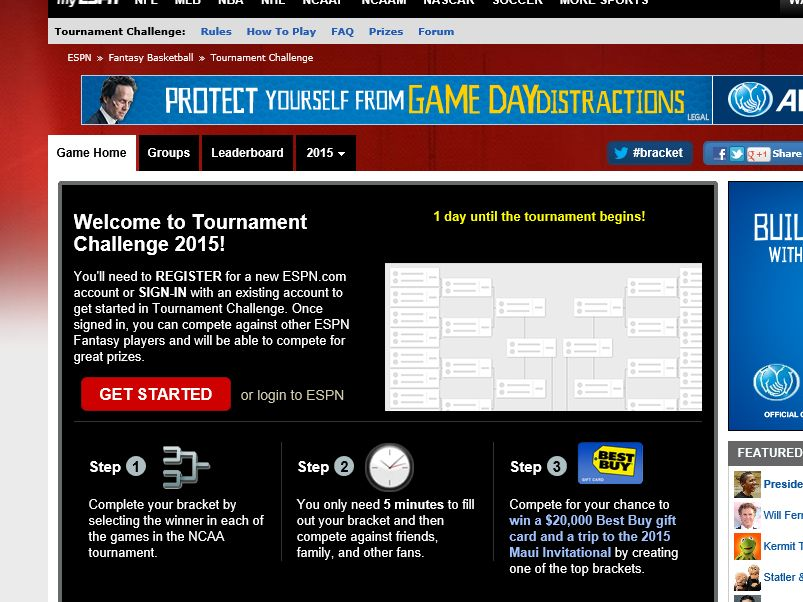Men's Tournament Challenge 2015 Sweepstakes