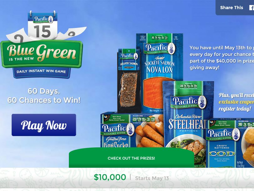 """Pacific Seafood """"Blue is the New Green"""" Instant Win Game"""
