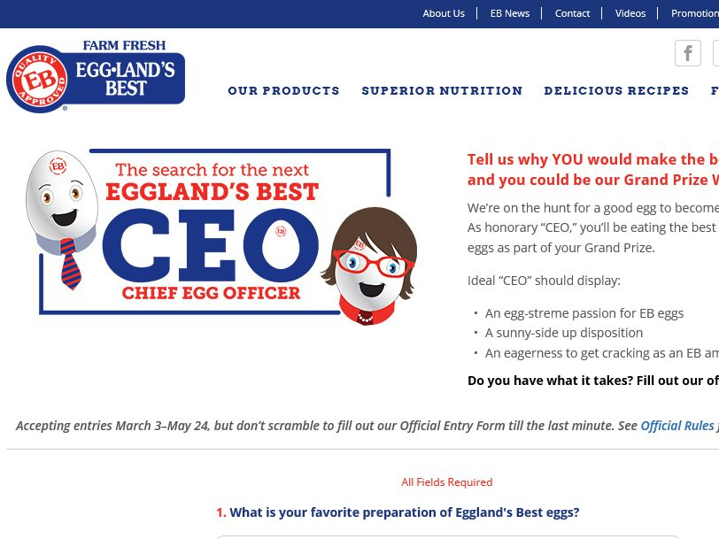 "The Eggland's Best ""2015 Chief Egg Officer Search"" Contest"