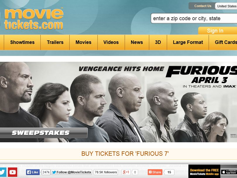 "The MovieTickets.com ""Furious 7"" Sweepstakes"
