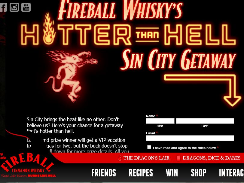 The Fireball Whisky Hotter Than Hell Vegas Vacation Experience Contest