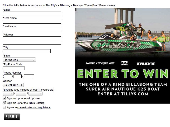 "The Tilly's Billabong & Nautique ""Team Boat"" Sweepstakes"