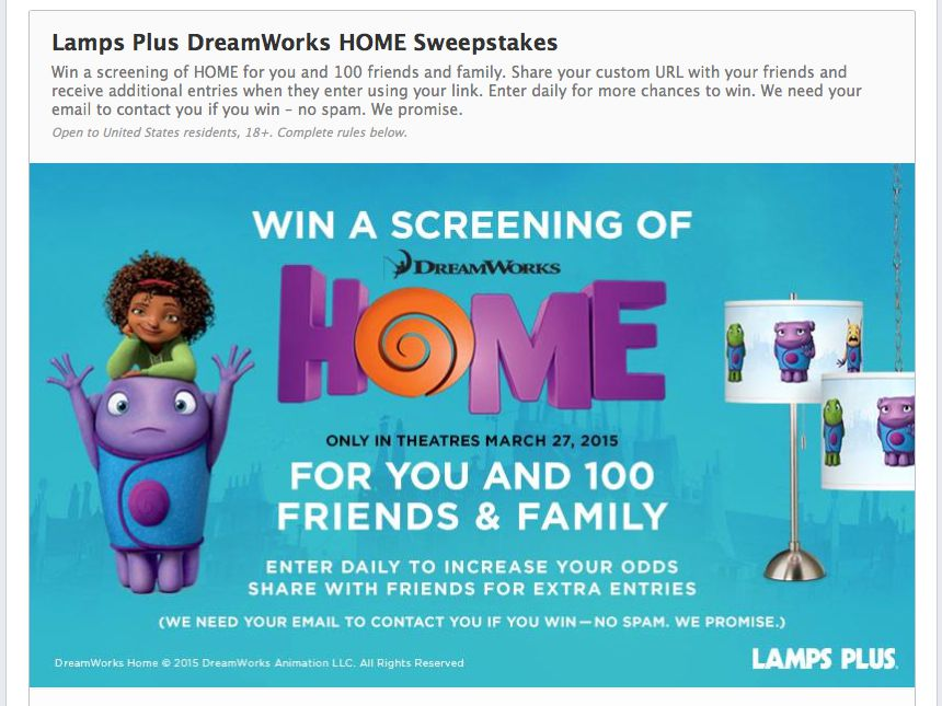 Lamps Plus Dreamworks Home Sweepstakes