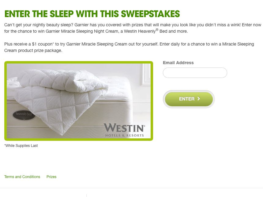 Garnier Sleep With This Sweepstakes