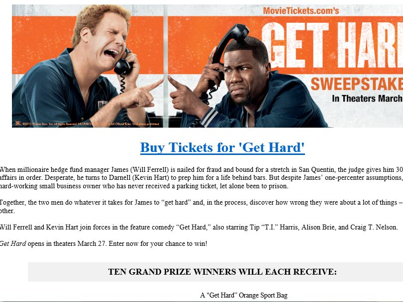 "MovieTickets.com's ""Get Hard"" Sweepstakes"