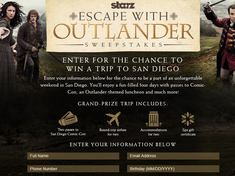 The Escape with Outlander Sweepstakes