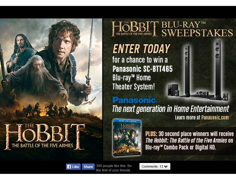 THE HOBBIT: The Battle of the Five Armies Blu-ray Sweepstakes