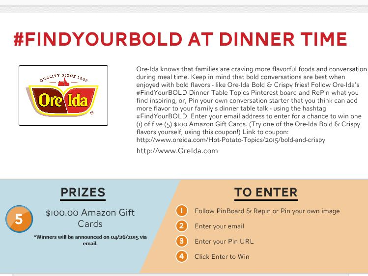 "The Ore Ida ""#FindYourBOLD at Dinner Time"" Sweepstakes"