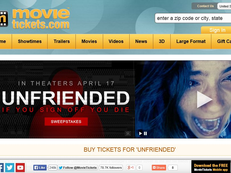 "The  MovieTickets.com ""Unfriended"" Sweepstakes"