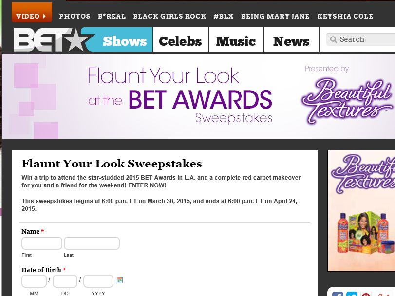 Flaunt Your Look at the BET Awards Sweepstakes