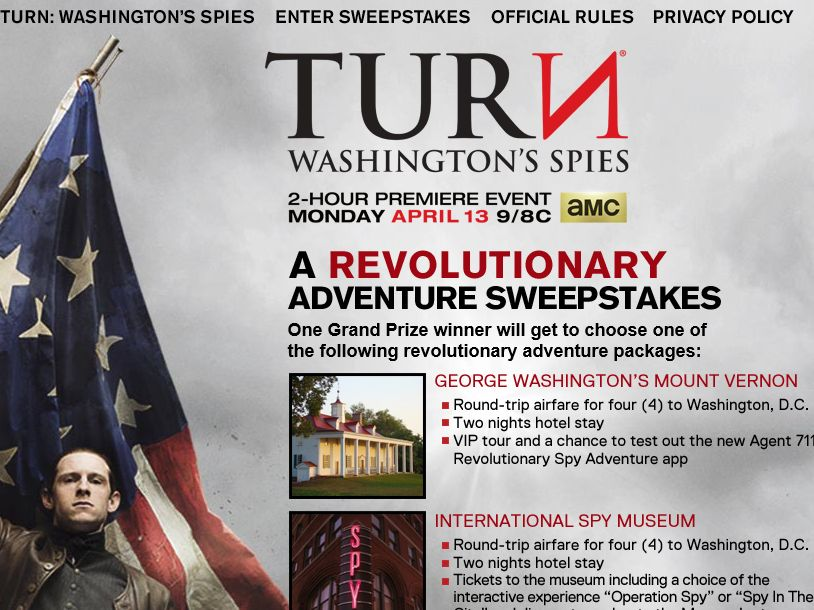 TURN: Washington's Spies – A Revolutionary Adventure Sweepstakes