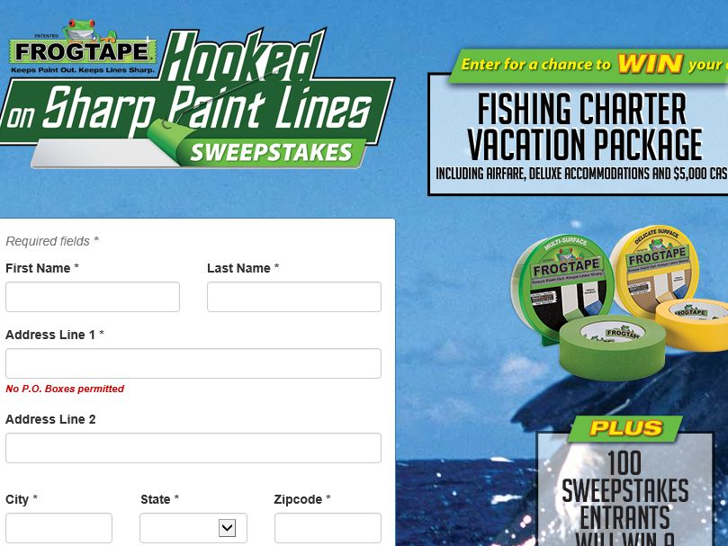 The FrogTape Hooked on Sharp Paint Lines Sweepstakes