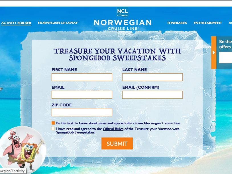 The Treasure Your Vacation with SpongeBob Sweepstakes