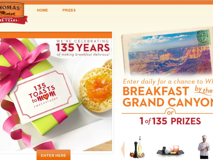 """Thomas' English Muffins and Bagels """"135 Toasts to Mom"""" Promotion"""