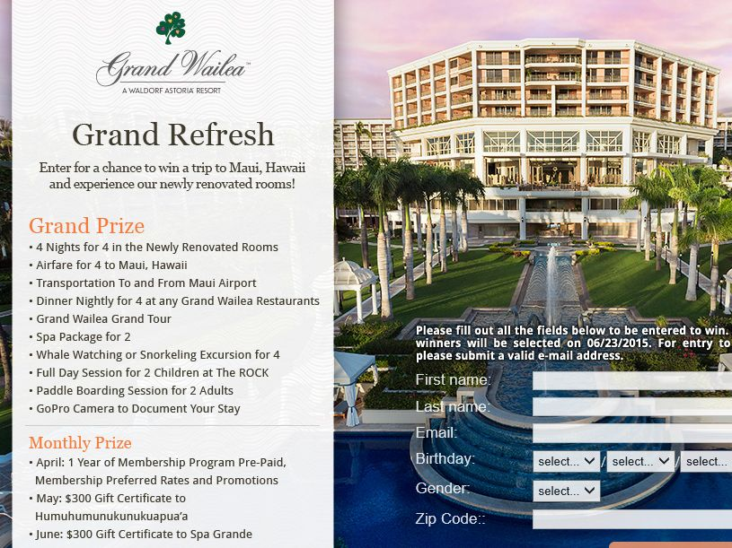 The Grand Refresh courtesy of Grand Wailea Sweepstakes
