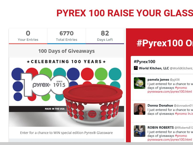 PYREX Brand 100 Days of Giveaways Sweepstakes