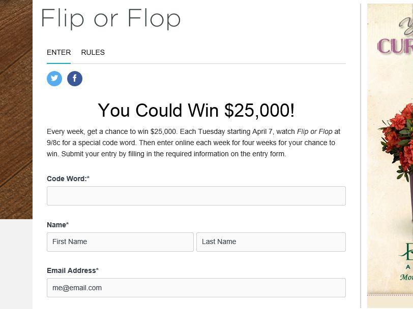 Hgtv flip-flop watch it win it sweepstakes