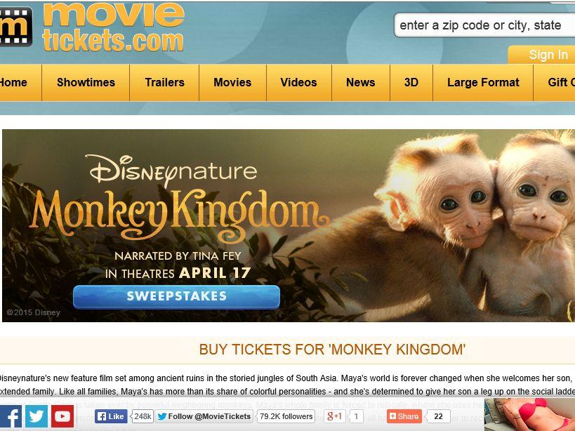 "The MovieTickets.com ""Monkey Kingdom"" Sweepstakes"