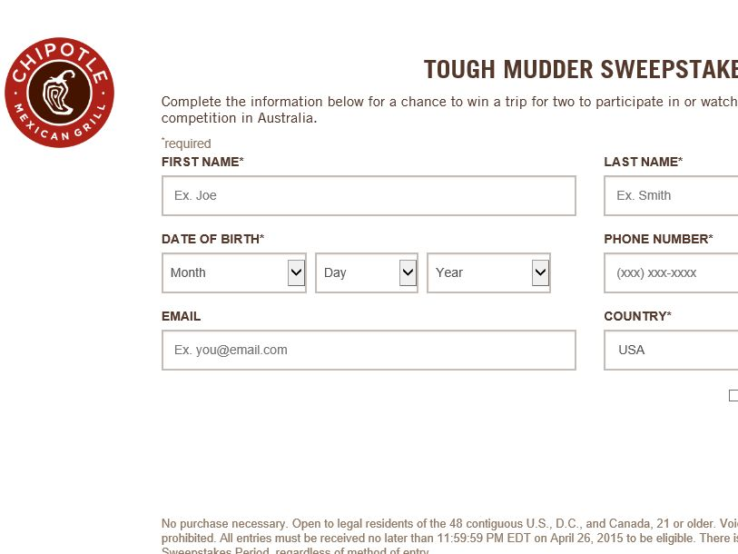 The Chipotle Tough Mudder Sweepstakes