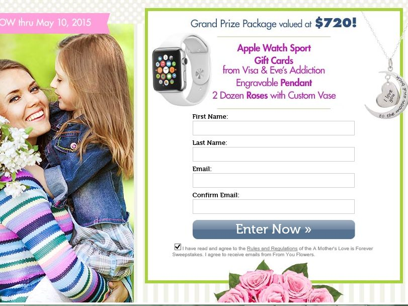 The From You Flowers A Mother's Love Is Forever Sweepstakes