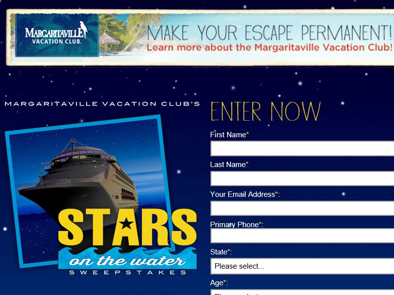 "The Margaritaville Vacation Club ""Stars on the Water"" Sweepstakes"
