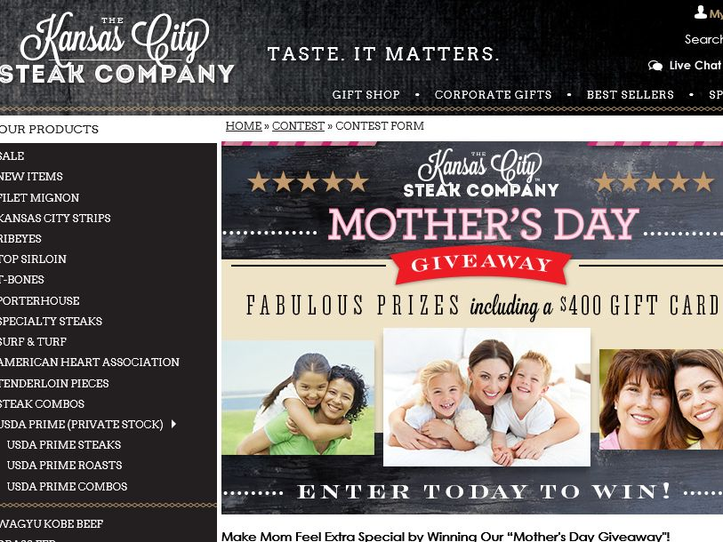 "The Kansas City Steak Company ""Mother's Day Giveaway"" Sweepstakes"