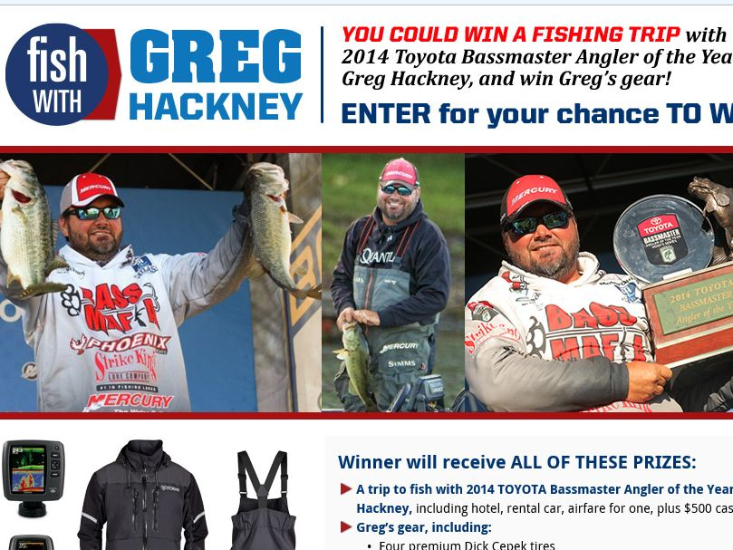The Bassmaster Fish with Greg Hackney Sweepstakes