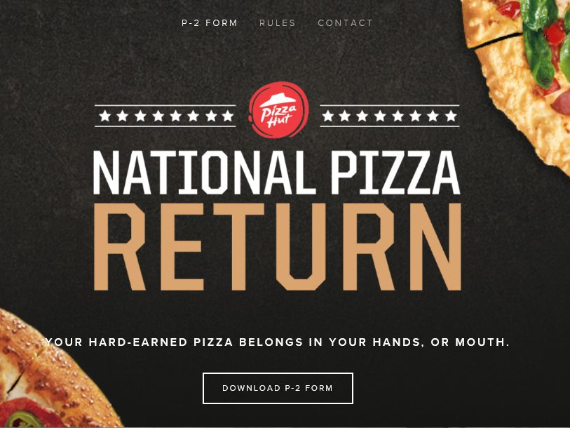 The Pizza Hut National Pizza Return Promotion