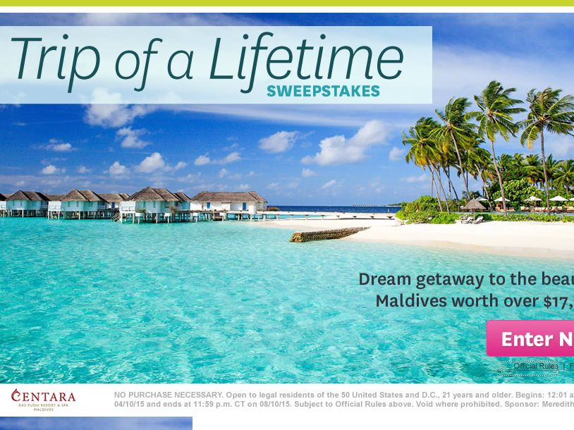 The Better Homes and Gardens Maldives Sweepstakes